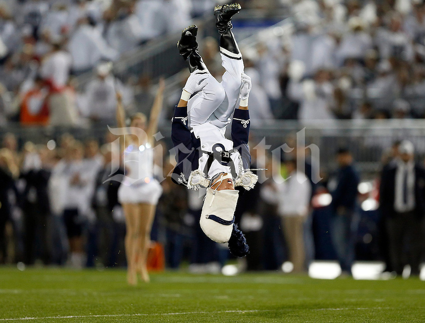 Penn State drum major enters the stadium before the NCAA Division I football game at Beaver Stadium in University Park, PA on October 25, 2014. (Columbus Dispatch photo by Jonathan Quilter)