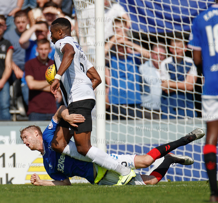 25.08.2019 St Mirren v Rangers: Filip Helander and Jon Obika