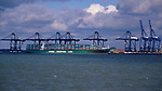 A728HD Large cranes and container ships Port of Felixstowe Suffolk England