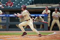 Matt Henderson (24) of the Florida State Seminoles follows through on his swing against the North Carolina Tar Heels in the 2017 ACC Baseball Championship Game at Louisville Slugger Field on May 28, 2017 in Louisville, Kentucky. The Seminoles defeated the Tar Heels 7-3. (Brian Westerholt/Four Seam Images)