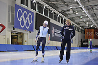 SPEED SKATING: SALT LAKE CITY: 18-11-2015, Utah Olympic Oval, ISU World Cup, training, Jelena Peeters (BEL), Margo van Dijk (trainer/coach), ©foto Martin de Jong