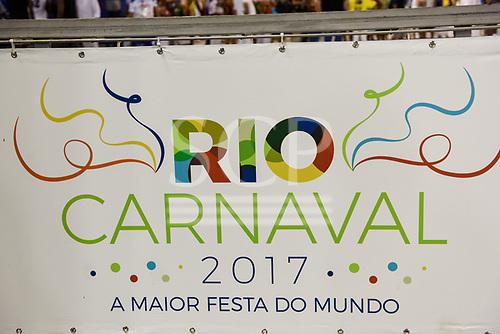 Carnival, Rio de Janeiro, Brazil, 24th February 2017. Sign for the carnival.