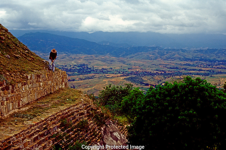 Valley of Oaxaca from the Zapotec ruins of Monte Alban, Oaxaca, Mexico