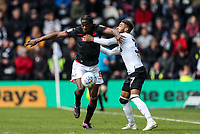 Bolton Wanderers' Clayton Donaldson competing with Derby County's Jayden Bogle <br /> <br /> Photographer Andrew Kearns/CameraSport<br /> <br /> The EFL Sky Bet Championship - Derby County v Bolton Wanderers - Saturday 13th April 2019 - Pride Park - Derby<br /> <br /> World Copyright &copy; 2019 CameraSport. All rights reserved. 43 Linden Ave. Countesthorpe. Leicester. England. LE8 5PG - Tel: +44 (0) 116 277 4147 - admin@camerasport.com - www.camerasport.com