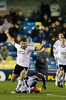Lee Gregory of Millwall tackles Jack O'Connell of Sheffield United to start the move for the third goal during the Sky Bet Championship match between Millwall and Sheff United at The Den, London, England on 2 December 2017. Photo by Carlton Myrie / PRiME Media Images.