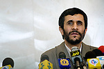 Mahmoud Ahmadinejad at his first press conference at the Majlis, Iran's Parliament after winning the Iranian presidential elections in 2005. Tehran, Iran, 12 July 2005.<br />