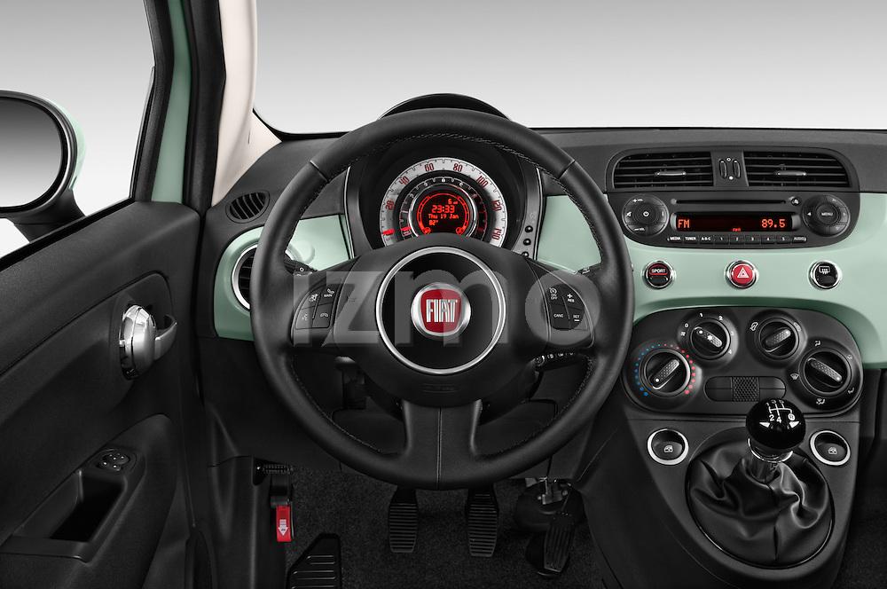 Car pictures of steering wheel view of a 2015 Fiat 500 POP 3 Door Hatchback Steering Wheel