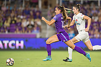 Orlando, FL - Saturday July 15, 2017: Alex Morgan, Yael Averbuch during a regular season National Women's Soccer League (NWSL) match between the Orlando Pride and FC Kansas City at Orlando City Stadium.
