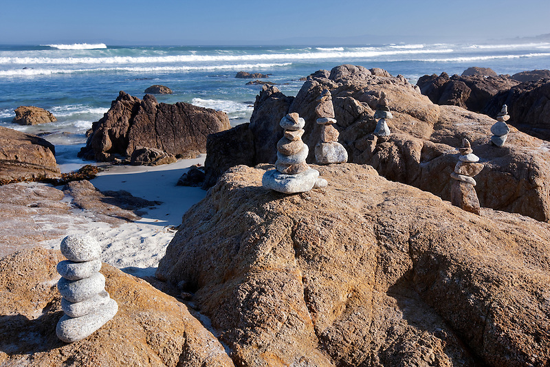 Rock markers  and ocean on 17 Mile Drive. Pebble Beach, California