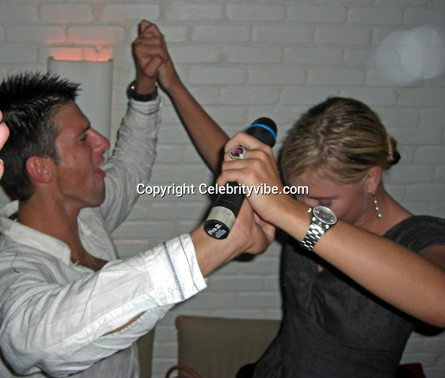 **EXCLUSIVE**.Novak Djokovic & Maria Sharapova.After losing the US Open to Roger Federer Novak Djokovic parties with Maria Sharapova and Jeffery Dread.Unik's Karaoke Sunday Party.Cipriani Downtown .New York City, NY, USA.Sunday, September, 09, 2007.Photo By Selma Fonseca/ Celebrityvibe.com.To license this image call (212) 410 5354 or;.Email: celebrityvibe@gmail.com; .Website: http://www.celebrityvibe.com/.