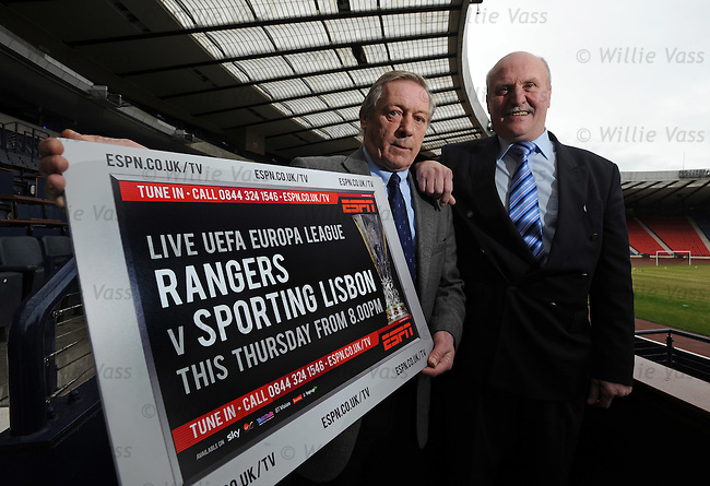 Rangers 1972 cup heroes Willie Johnston and Colin Stein at Hampden promoting ESPN's coverage of Rangers v Sporting Lisbon