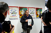 Domenico (Mimmo) Lucano, Mayor of Riace<br /> Rome January 30th 2019. Press conference in occasion of the end of the petition for the candidacy of Mimmo Lucano for Nobel Peace Prize. <br /> The mayor of Riace, made headlines around the world for his unusual programme that welcomed migrants to the sparsely-populated town in Calabria, giving them abandoned homes and on-the-job training, in the hope that the new arrivals would rejuvenate the economy. Domenico Lucano, waiting for judgment, was detained last October over his alleged involvement in organizing &quot;marriages of convenience&quot; for immigration purposes. <br /> Foto Samantha Zucchi Insidefoto