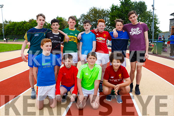 Enjoying the Kerry ETB students Athletics Day at An Riocht Castleisland on Tuesday were Finn Corcoran, Dara Devlin, Paddy O'Neill, Donnagh Lyon,  Back l-r  Joseph Coffey, Luke Harty, Daniel Devane, Cian O'Donoghue, Liam O'Connor, David O'Neil, Dara O'Shea from <br /> Col&aacute;iste na Sceilge