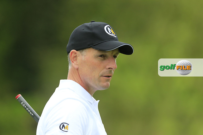David Higgins (IRL) on the 17th green during Thursday's Round 1 of the 2016 Dubai Duty Free Irish Open hosted by Rory Foundation held at the K Club, Straffan, Co.Kildare, Ireland. 19th May 2016.<br /> Picture: Eoin Clarke | Golffile<br /> <br /> <br /> All photos usage must carry mandatory copyright credit (&copy; Golffile | Eoin Clarke)