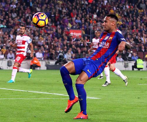 29.10.2016 Barcelona. La Liga football league. Neymar in action during the league game between FC Barcelona against Granada CF at camp nou