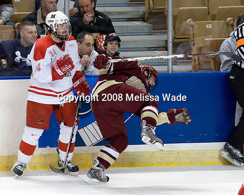 Vincent LoVerde (Miami - 14), Matt Greene (BC - 14) - The Boston College Eagles defeated the Miami University RedHawks 4-3 in overtime on Sunday, March 30, 2008 in the NCAA Northeast Regional Final at the DCU Center in Worcester, Massachusetts.