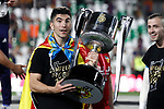 Valencia CF's Carlos Soler celebrates the victory in the Spanish King's Cup Final match. May 25,2019. (ALTERPHOTOS/Carrusan)
