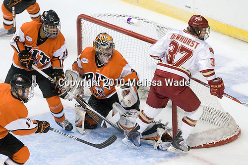 ?, Cameron Burt (RIT - 18), Jared DeMichiel (RIT - 33), Nate Dewhurst (Denver - 37) - The Rochester Institute of Technology (RIT) Tigers defeated the Denver University Pioneers 2-1 on Friday, March 26, 2010, in their NCAA East Regional semi-final at the Times Union Center in Albany, New York.