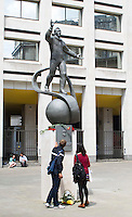Statue of USSR cosmonaut, Yuri Gagarin, London.  Gagarin was the first man in space and the first to circumnavigate the globe.  The statue was unveiled by his daughter, Elena Gagarina, on 14th July 2011 on The Mall in London at the same spot where crowds had greeted him 50 years earlier.  It was cast from the original mould by Anatoly Novikov.