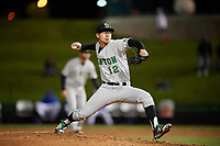 Clinton LumberKings relief pitcher Robert Dugger (12) delivers a pitch during a game against the South Bend Cubs on May 5, 2017 at Four Winds Field in South Bend, Indiana.  South Bend defeated Clinton 7-6 in nineteen innings.  (Mike Janes/Four Seam Images)