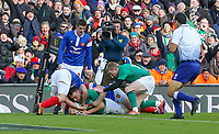 Sunday10th March 2019 | Ireland vs France<br /> <br /> Jack Cronan scores the third try for Ireland during the Guinness 6 Nations clash between Ireland and France at the Aviva Stadium, Lansdowne Road, Dublin, Ireland. Photo by John Dickson / DICKSONDIGITAL