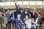 Sam Locke Independent Tralee area with supporters after being elected at the Local Election count centre at John Mitchels Clubhouse in Tralee on Sunday.