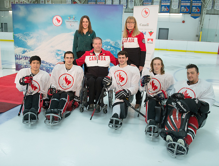 Ottawa, ON - January 24 2017 - Aurélie Rivard, Karen O'Neill and Sledge Hockey players as Todd Nicholson is announced as the Team Canada Chef de Mission for the 2018 Paralympic Winter Games in Pyeongchang, South Korea at the Jim Durrell Recreation Complex in Ottawa, Ontario, Canada (Photo: Matthew Murnaghan/Canadian Paralympic Committee)