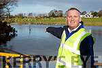 John Fox Glan Agua  points to the water guage which shows the water has risen to one metre in Lough Guitane on Tuesday