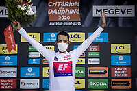 Daniel Felipe Martínez (COL/EF Education First) surprisingly wins the 2020 Dauphiné as GC leader Primoz Roglic only withdrew just before the start of the last stage AND Martinez was able to gain a good chunck of time on then-new-GC-leader Thibaut Pinot in that stage. But a non less deserved win nontheless!<br /> And obviously as the overall winner AND being a contender for the white jersey / best young rider as well > Martinez also takes this one home.<br /> <br /> Stage 5: Megève to Megève (154km)<br /> 72st Critérium du Dauphiné 2020 (2.UWT)<br /> <br /> ©kramon