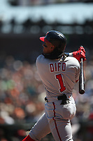 SAN FRANCISCO, CA - APRIL 25:  Wilmer Difo #1 of the Washington Nationals bats against the San Francisco Giants during the game at AT&T Park on Wednesday, April 25, 2018 in San Francisco, California. (Photo by Brad Mangin)
