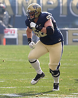 Pitt offensive tackle Lucas Nix. The Pittsburgh Panthers beat the Syracuse Orange 33-20 at Heinz Field in Pittsburgh, Pennsylvania on December 3, 2011