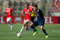 4th February 2020; National Stadium of Chile, Santiago, Chile; Libertadores Cup, Universidade de Chile versus Internacional; Camilo Moya of Universidad de Chile challenges D'Alessandro of Internacional