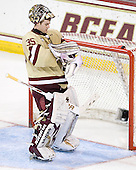 Parker Milner (BC - 35) - The Boston College Eagles defeated the visiting University of New Hampshire Wildcats 4-3 on Friday, January 27, 2012, in the first game of a back-to-back home and home at Kelley Rink/Conte Forum in Chestnut Hill, Massachusetts.