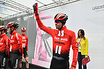 Tom Dumoulin and Team Sunweb at sign on before Stage 5 of the 2019 Giro d'Italia, running 140km from Frascati to Terracina, Italy. 15th May 2019<br /> Picture: Massimo Paolone/LaPresse | Cyclefile<br /> <br /> All photos usage must carry mandatory copyright credit (© Cyclefile | Massimo Paolone/LaPresse)