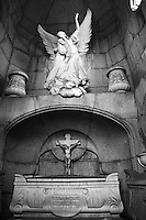 A well preserved sculpture decorates a crypt in the Cementario de la Recoleta in Buenos Aires, Argentina.