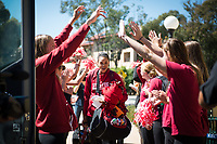 Stanford, CA - March 28, 2017: The Stanford Cardinal prepares for the Final Four 2017 in Dallas, Texas