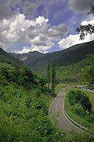 Driving through the Monte Perdido Ordesa national park, Huesca, Aragon,Spain.