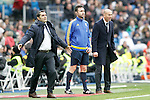 Real Madrid's coach Zinedine Zidane (r) and Athletic de Bilbao's coach Ernesto Valverde during La Liga match. February 13,2016. (ALTERPHOTOS/Acero)