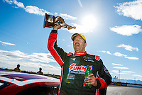 Feb 26, 2017; Chandler, AZ, USA; NHRA pro stock driver Greg Anderson celebrates after winning the Arizona Nationals at Wild Horse Pass Motorsports Park. Mandatory Credit: Mark J. Rebilas-USA TODAY Sports