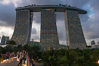 Marina Bay Sands Hotel Illuminated At Night, Singapore