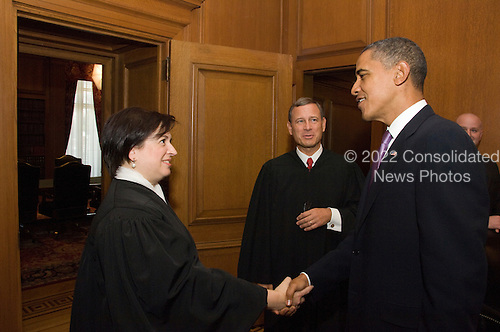 United States President Barack Obama and Associate Justice Elena Kagan outside the Justice's Conference Room prior to Justice Kagan's Investiture Ceremony at the U.S. Supreme Court in Washington, D.C. on Friday, October 1, 2010.  Behind them is U.S. Chief Justice John G. Roberts, Jr..Credit: Steve Petteway - USSC via CNP