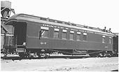 Business car B-7 at Alamosa, CO.  Originally baggage car #17 and then business car R.<br /> D&amp;RGW  Alamosa, CO  Taken by Ward, Bert H. - 7/14/1947