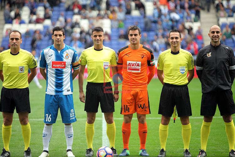 League Santander 2016/2017. Game: 9.<br /> RCD Espanyol vs SD Eibar: 3-3.<br /> Angel Nevado Rodriguez, Javi Lopez, Jesus Gil Manzano, Dani Garcia, Fernandez Miranda &amp; Bosch Domenech.