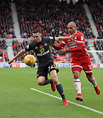 5th November 2017, Riverside Stadium, Middlesbrough, England; EFL Championship football, Middlesbrough versus Sunderland; George Honeyman of Sunderland holds off a challenge from Martin Braithwaite of Middlesbrough in the second half of the 1-0 match