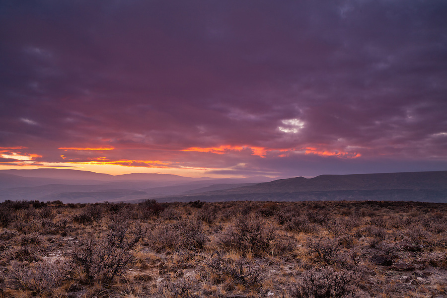 The sunset seen near Vantage, Washington above I-90 in Grant County, Washington State.