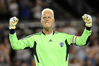 Jimmy Nielsen Sporting KC goalkeeper at the final whistle... Sporting Kansas City defeated Real Salt Lake 2-0 at LIVESTRONG Sporting Park, Kansas City, Kansas.