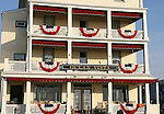 Flags on the porches of Historic Ocean Vista Victorian Hotel in Ocean Grove,  New Jersey. Photo By Bill Denver/EQUI-PHOTO