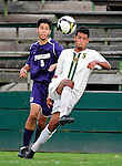 11 September 2009: University of Vermont Catamount forward/midfielder Juan Peralta, a Junior from Queens, NY, battles University of Portland Pilot defenseman/midfielder Keith Grubisich, a Freshman from San Jose, CA, in the first round of the 2009 Morgan Stanley Smith Barney Soccer Classic held at Centennial Field in Burlington, Vermont. The Catamounts and Pilots battled to a 1-1 double-overtime tie. Mandatory Photo Credit: Ed Wolfstein Photo
