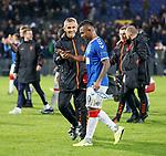 28.11.2019: Feyenoord v Rangers: Stevie Walker with Alfredo Morelos at full time