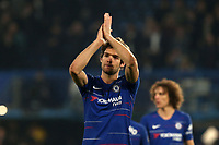 Marcos Alonso of Chelsea celebrates the victory after Chelsea vs Tottenham Hotspur, Premier League Football at Stamford Bridge on 27th February 2019